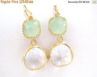SALE Glass Earrings, Clear Earrings, Crystal Earrings, White, Mint Earrings, Green, Gold, Wedding, Bridesmaid Earrings, Bridesmaid Gifts