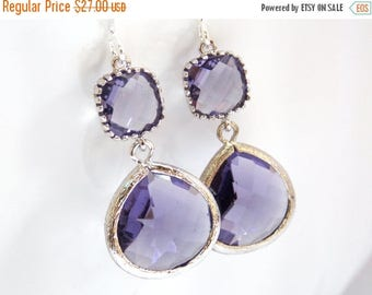 SALE Glass Earrings, Purple Earrings, Tanzanite, Dangle, Drop, Silver, Bridal Jewelry, Bridesmaid Earrings, Bridal Earrings, Bridesmaid Gift