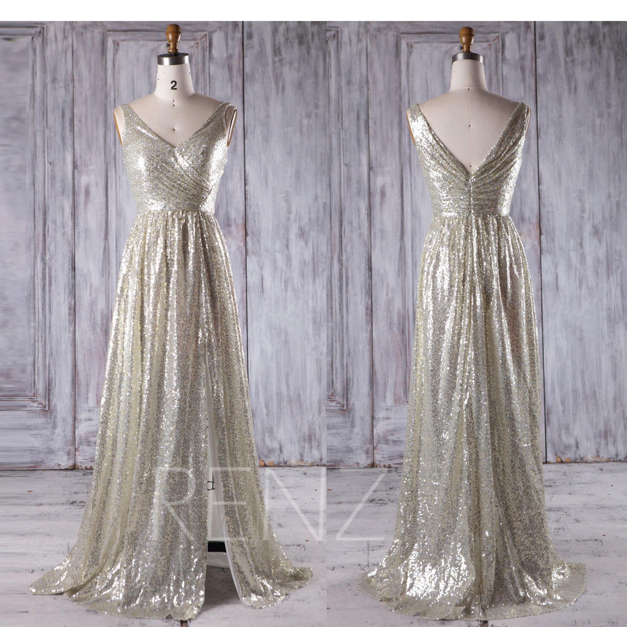 Sequin Wedding Dress: 2017 Gold Silver Sequin Bridesmaid Dress Slit V Neck Wedding