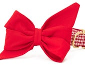 Crew LaLa ™ Scarlet on Red Gingham Belle Bow Dog Collar