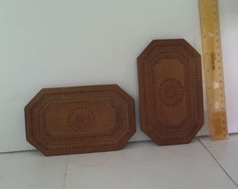 Vintage Wooden Carved Trays pair 4 by 6 inches