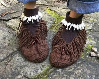 Crochet Women's Moccasin Slippers - Ladies Slippers - Women's Moccasins