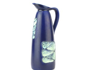 West German Blue Glaze Jug With Geometric panel glaze pattern