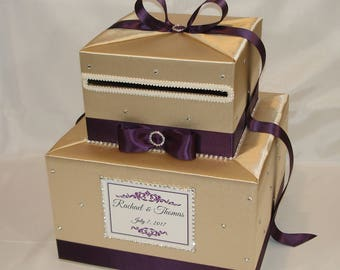 Champagne/Light Gold and Plum Wedding Card Box-Rhinestone accents