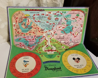 1965 Disneyland game board Walt Disney colorful graphics Mickey Mouse Donald Duck Vintage paper supplies altered art mixed media