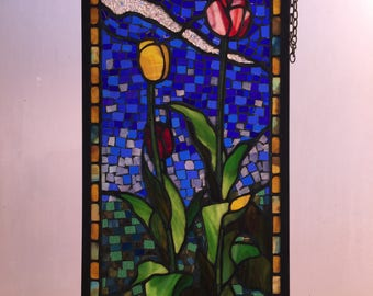 Spring Tulip Stained Glass Window Hanging