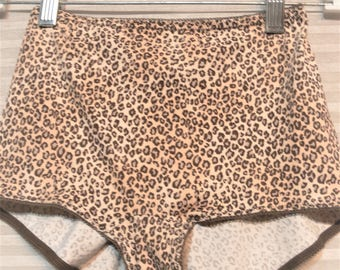 nylon leopard panties size large