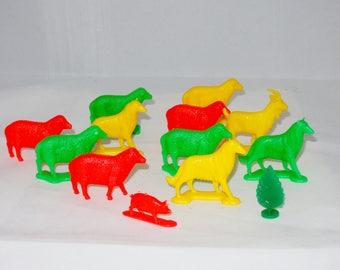 Plastic Neon Colored Farm Animals