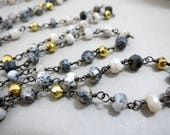 Dendrite Opal & Gold Pyrite Rosary Chain By The Foot, Beaded Gun Metal Black Wire 3.5-4mm Faceted Beads, Bulk Beaded Chain