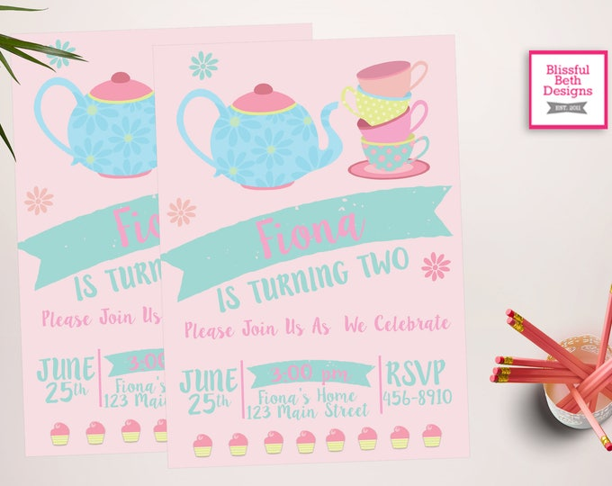 MODERN TEA PARTY, Tea Party Birthday Invite, Printable Tea Party, Shabby Chic Tea Party Invitation, Par-tea Invitation, Tea Par-tea
