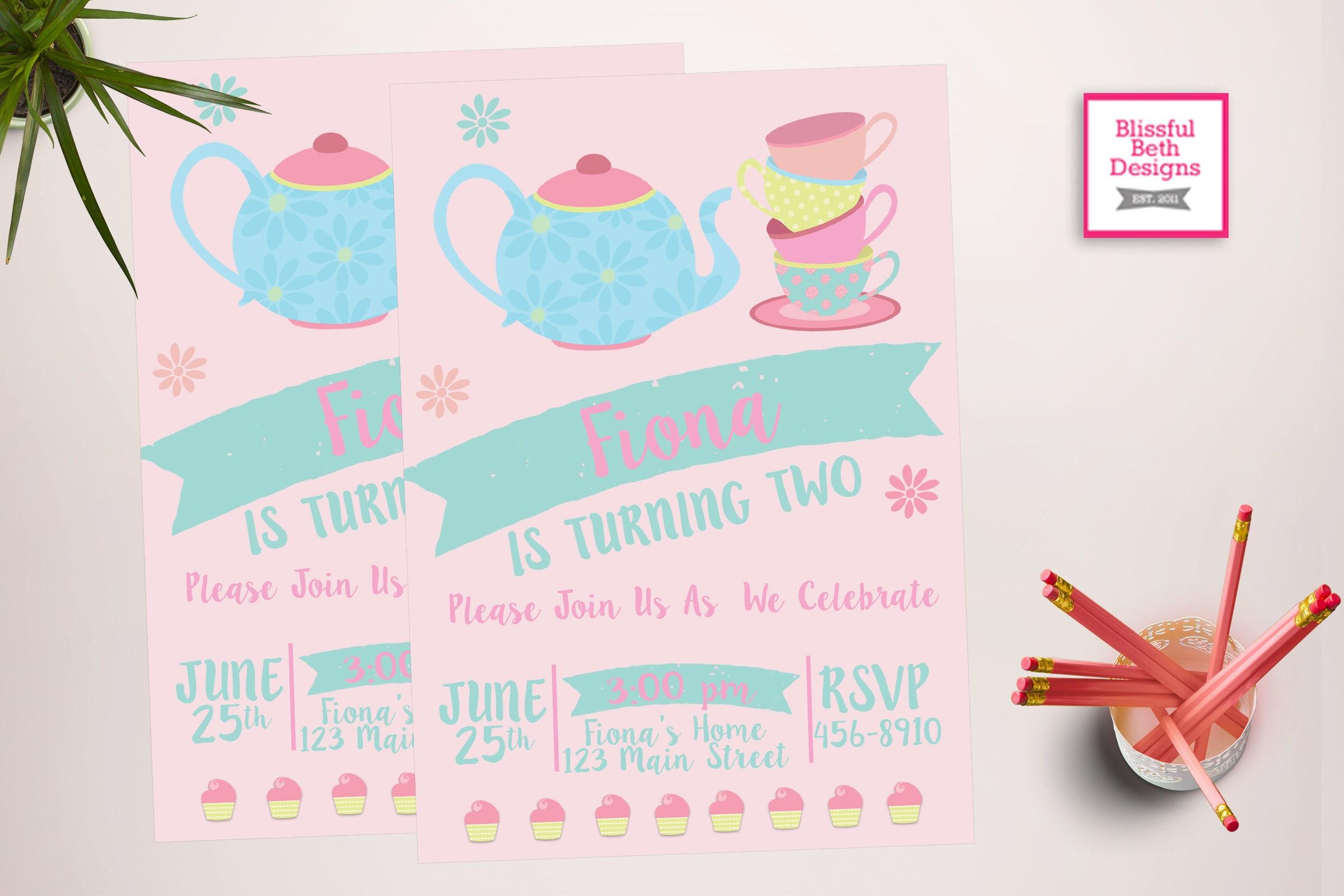 MODERN TEA PARTY Tea Party Birthday Invite Printable Tea Party – Tea Party Birthday Invites