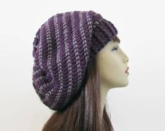 Crochet Slouchy Hat Purple Knit Beanie Purple Striped Slouchy Hat Plum Beret Purple Slouchy Tam Purple Crochet Hat Eggplant Beanie Knit Tam