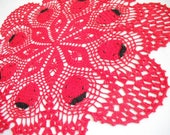 """Ladybug Lace Crochet Doily. Round 20"""". Red. Black. New. lace table top. Home Decor"""