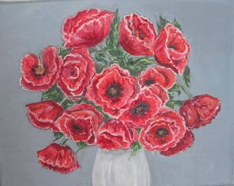 Hand Painted poppy on grey background . Original Acrylic painting. Artwork Home Garden Decor.