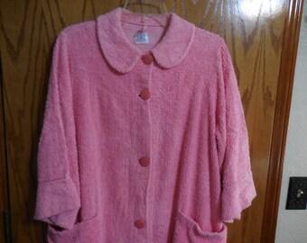 Vintage PINK Chenille ROBE - Vintage Callaway Mills Suntone Pink Chenille Button Down BATHROBE - Free Shipping