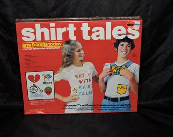 1970s Shirt Tales T Shirt Painting Stencil Set NIP Decorate Tees Sweatshirts Sayings Logos Hasbro