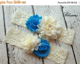 SALE Bridal Garter Set - Ivory Keepsake & Toss Wedding Garter - Chiffon Flower Rhinestone Lace Garters - Vintage Lace Garter - Something Blu