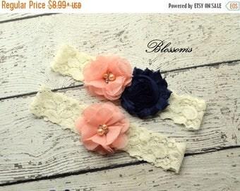 SALE NAVY CORAL Bridal Garter Set - Ivory Keepsake & Toss Wedding Garters - Chiffon Flower Rhinestone Garters - Dark Blue - Prom - Garder