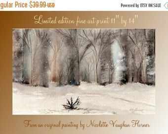 SALE High quality limited edition print  Snowy Birch Trees from an original painting  by Nicolette Vaughan Horner