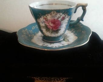 On Sale Fern Hand Painted Tea Cup & Saucer Set * Made In Japan * 1930's 1940's Art Deco Home Decor Collectibles