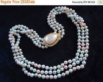 Now On Sale Vintage Rhinestone Pendant Beaded 3 Strand Necklace Statement RunwayJewelry Mad Men High End Retro Collectible Accessorie