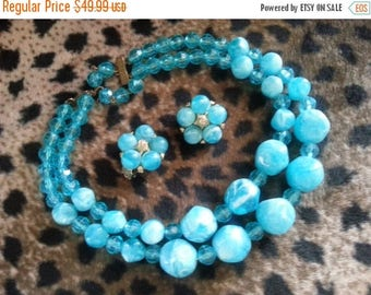 Now On Sale Chunky Aqua Collectible 2 Strand Necklace Earring Set 1950's 1960's Demi Parure Turquoise Rockabilly High End Jewelry