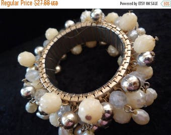 Now On Sale Vintage Expandable Faux Pearl & Beaded 1950s 1960s Cha Cha Fun Bracelet