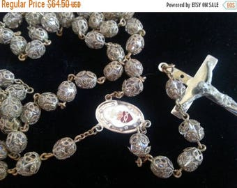 Now On Sale Glass Rosary * Vintage Religious Collectible Jewelry * Vintage Filigree Prayer Beads * Mid Century * 1950's 1960's