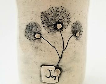 JOY-  Black / White Tumbler & Encouraging Trees | SEEDS Collection | Inspirational Cup | #SEEDSW5CUP-J