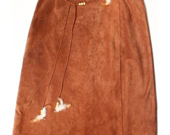Vintage 90s Apart Impressions Tan Brown Leather Native Indian Skirt UK 18 US 16