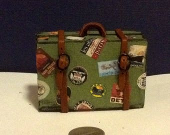 Miniature Green Suitcase with Travel Stickers 1:12 Scale