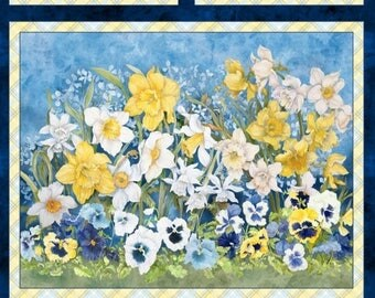 20 % off thru 7/4 fabric panel  WALKING ON SUNSHINE-yellow blue pansies daffodils- by Wilmington Fabrics- 24 by 44 inches-