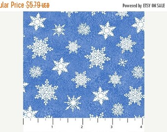 20 % off thru 8/20 SANTA CLAUS is Coming to Town Northcott Christmas fabric by the half yard-white snowflakes on blue cotton-21698-42