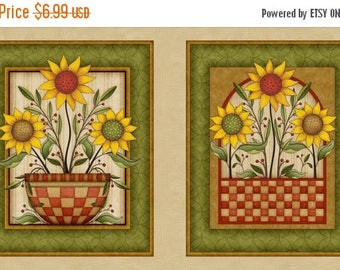 20 % off thru 8/20 SUNFLOWER BOUQUET Fabric Panel Quilting Treasures-flowers in baskets Fall Autumn