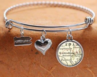 Gettysburg PA Map Charm Bracelet State of Pennsylvania Bangle Cuff Bracelet Vintage Map Jewelry Stainless Steel Bracelet