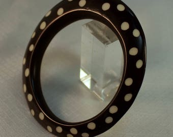 Rare Black and White Poka Dot Bakelite Bangle Braclet