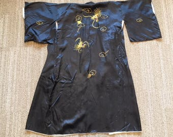 vintage black kimono with gold embroidery on back