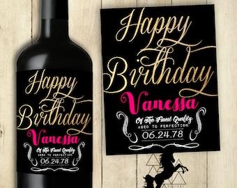 Happy Birthday Wine Label / Personalized / Customized / PRINTABLE / Happy Birthday Sticker