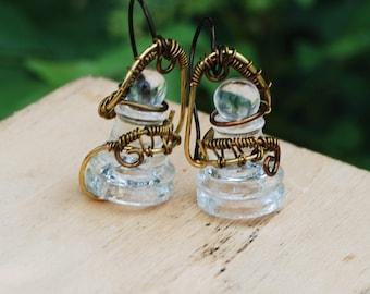 Unique Chess Earrings Glass Pawn Earrings Antique Bronze Wire Wrap Earrings