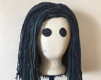 Handmade Crochet yarn Hair wig, women, baby, kids, Black hair, yarn wig costume wig, petrol blue wig for costume