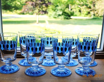 8 Retro Footed Water Goblets Shades of Blue Rings Of Hearts
