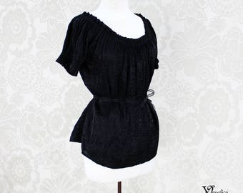 Steampunk Renaissance Cora Chemise in Black Crinkled Shimmer Satin -- Custom Made in Your Size