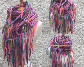 Pastel rainbow- pastel Dreadlock tendril scarf-Boho scarf-lagenlook -colourful  wool scarf- unique  Scarf- summer Scarf- festival