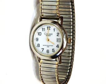 Vintage Indiglo Carriage Ladies Wrist Watch by Timex, Silver Gold Tone Metal Stretch Band, Not Working, Watch Repair or Parts itsyourcountry