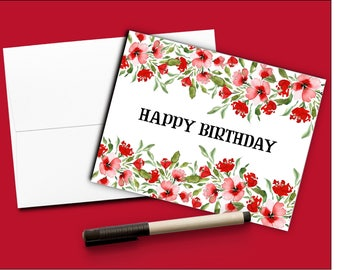 Happy Birthday card Birthday Card Red flowers Watercolor Birthday card Floral Card painted birthday card Birthday card for Friend