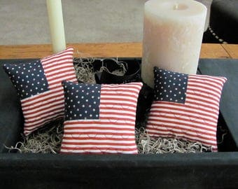 4th of July Bowl Fillers Appliqued Flag Ornies Shelf Tucks Set of Three Red White & Blue Pillows Mini Flag Pillows Americana/Primitive Decor