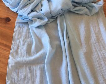 Gauze Table Runner Light Blue Table Runner, Rustic Table Runner   NO RAW  EDGES