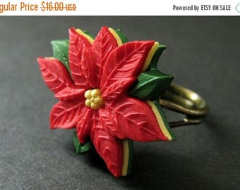 SUMMER SALE Poinsettia Flower Ring. Christmas Ring. Red Flower Ring. Adjustable Ring in Bronze. Christmas Jewelry. Handmade Jewelry.