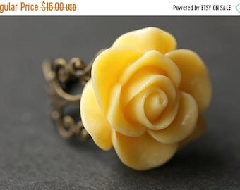 BACK to SCHOOL SALE Yellow Rose Ring. Yellow Flower Ring. Gold Ring. Silver Ring. Bronze Ring. Copper Ring. Adjustable Ring. Handmade Jewelr