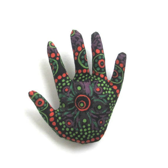 Tribal Fabric Hand Brooch ~ Hamsa Pin ~ Ready to Ship